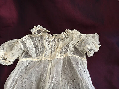 Victorian Antique Christening fine gown in tuille, Limerick lace & embroidery