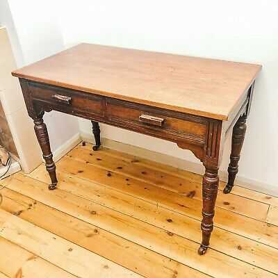Antique Edwardian Two Draw Mahogany Desk / Side Table