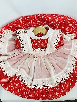 Rare Vintage Betty Oden Ruffle Dress Party Twirl Red Polka Dot Full Circle 3T/4T