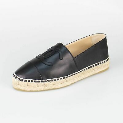 b1cde2ffbba NIB CHANEL BLACK Leather Logo Espadrilles Flats Shoes Size 6/37