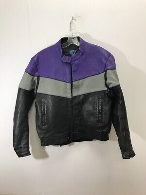 Vetter Leather Cafe Racer Classic Motorcycle Jacket Sz Large w/ Corduroy Collar