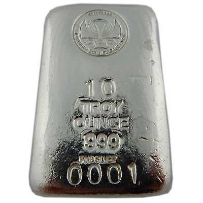 "Hand Poured 10 oz Silver Bar ""Loaf"" .999 Fine Silver 