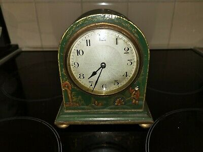 Art-Deco 8 Day French Lacquer Chinoiserie Mantle Clock Circa 1930