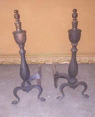 ANTIQUE BRASS ANDIRONS for Fireplace! Great Pieces! Estate Find!