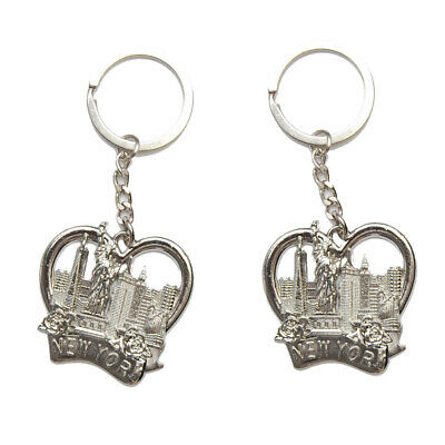 (2 Pack) New York NY Keychain Metal Key Ring - NY Big Apple Statue of Liberty