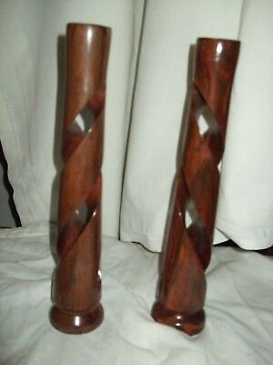 """Pair Of Beautiful Turned Wood Art Deco Wooden Candlesticks  11"""" Tall"""