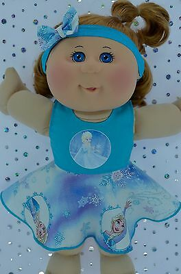 "Play n Wear Doll Clothes To Fit 14"" Cabbage Patch AQUA CIRCLE DRESS~HEADBAND"