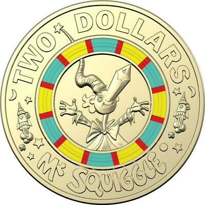New 2019 $2 Mr Sguiggle Coin Two Dollar Colored Coin Royal Australian Mint UNC