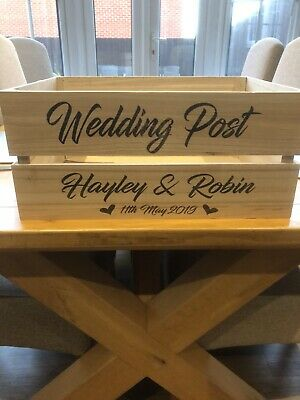 4056952f4e8 WOODEN WEDDING FLIP Flop Basket Crate Box Storage Shoe Personalised ...