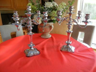 """Pair of 19"""" Goldfeder Silver Plate 4 Arm, 5 Candle Antique Baroque Candelabra"""