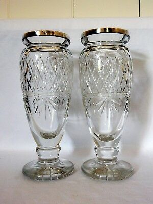 Pair of Antique Edwardian 1913 Sterling Silver Rim Glass Crystal Flower Vases