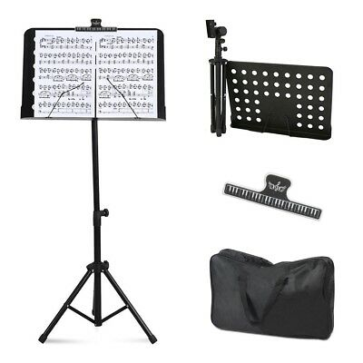 Music Conductor Stand Sheet Holder Tripod Adjustable Height Foldable Bag Clip NE
