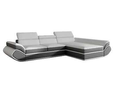 Contemporary Modern White Gray Sectional Sofa With Sleeper And Storage