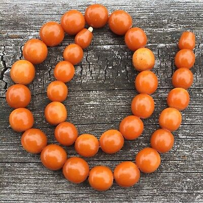 RARE MASSIVE ANTIQUE EGG YOLK BUTTERSCOTCH CHINESE AMBER BEAD Necklace 43 GRAMS