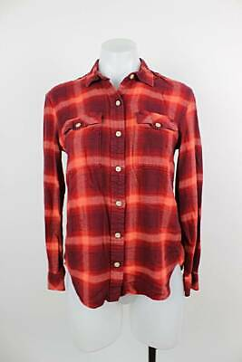 Gap Pendleton Women Top Small Plaid Flannel Button Up Long Sleeve FLAW