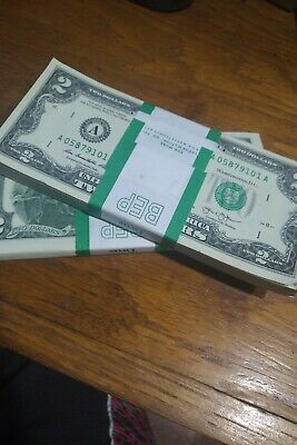 ✯LUCKY✯ - $2 TWO DOLLAR BILLS $2 Crisp Uncirculated FREE WHEAT PENNY