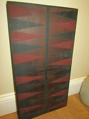 Antique Wooden Painted Backgammon Game Board