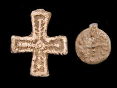 Lot Of One Late Roman Lead Cross And One Byzantine Cross Pendant+++