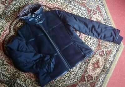 Womens Greenstone Black Faux Suede Panel Flying Jacket Fun Fur Collar - Size 38