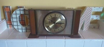 Vintage Metamec Brass, Wood And Faux Marble Battery Operated Mantel Clock