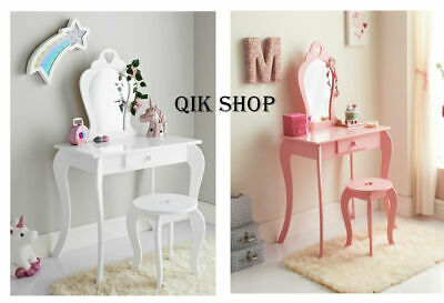Vanity Set / Dressing Table With Mirror & Stool Children Kids Wooden Pink / Whit