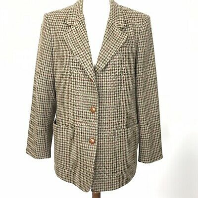 de561fd3dcc LL Bean Womens Brown Plaid Houndstooth Blazer Jacket Tweed Leather Buttons  Sz 12