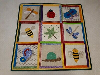 """Bright Bugs"" Handmade Patchwork Baby Quilt / Playrug - Boy or Girl - Nursery -"