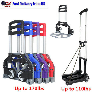 170LBS Folding Hand Truck Cart Dolly Collapsible Trolley Push Moving Warehouse
