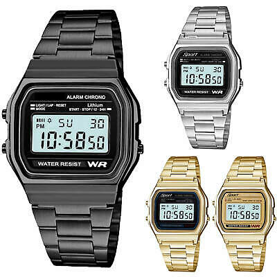 Retro Sport Metal Band Watch with LCD Display Men Women Fashion Gold & Silver
