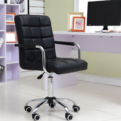 Comfortable  Pu Home Office Swivel Chair Computer Desk Furniture For Uk(Black)