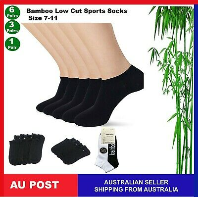 Mens Womens Bamboo Low Cut Sport Ankle Cushion Socks Odour Resistant 7-11