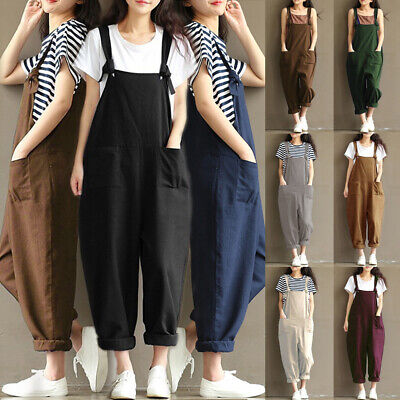 UK Womens Ladies Tank Strappy Loose Baggy Dungarees Overalls Oversized Jumpsuit