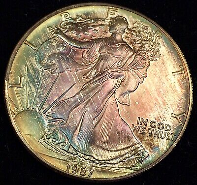 1987 Beautiful natural  toned Silver Eagle BU uncirculated Top Of The Roll Find!