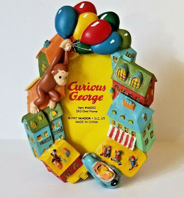 Vandor Curious George 2x3 Resin Photo Picture Frame Vintage 1997 Balloon Houses