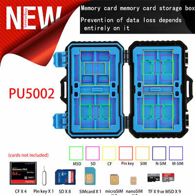 Water Resistant Holder Storage Memory Card Case Fits TF SIM SD Micro SD TF Cards