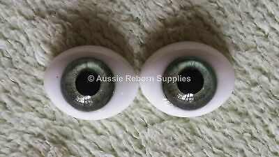 20mm Meadow Green Oval Glass Eyes Reborn Baby Doll Making Supplies