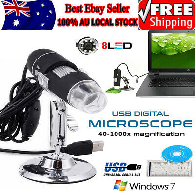 0X~1600X 8 LED Digital USB Handheld Microscope Endoscope Magnifier Camera AU
