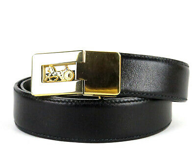 b263354ef186 100% Authentic CELINE Black Leather Waist Belt Gold-Tone Buckle Made In  Italy