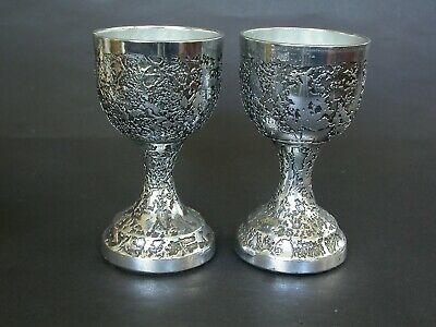 Two Early Don Sheil Goblets With Luna Pattern Anodised Alu Melbourne Dated 1975