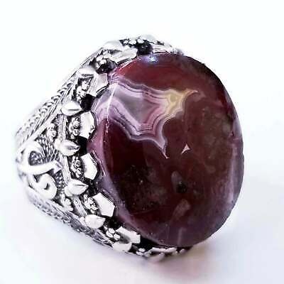 handmade 925 sterling silver ring genuine yemeni yaman blood agate aqeeq stone