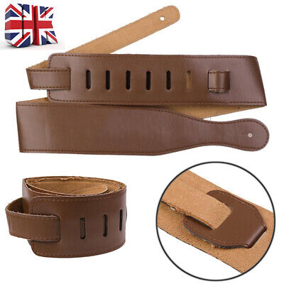 UK Brown Adjustable Soft Leather Thick Strap For Electric Acoustic Guitar Bass