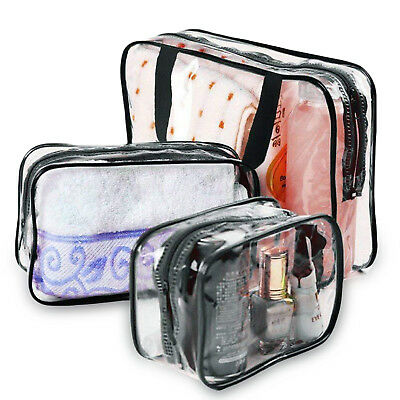 Waterproof PVC Zip Pouch Kit Transparent Clear Travel Cosmetic Wash Bag Storage