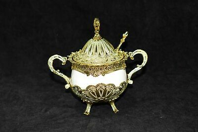 Gold and white Decorated Sugar Pot  15*10 cm 37441