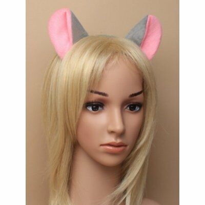 Grey and pink fur fabric mouse  ears alice band,Fancy Dress, world book day