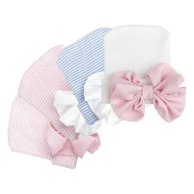 Baby Girls Infant Colorful Striped Soft Hat with Bow Cap Newborn Beanie New