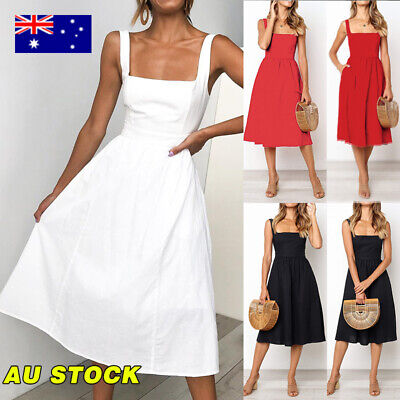 Women Backless Strap Skater Midi Dress Casual Summer Solid Party Beach Dress