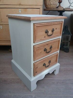Bedside Chest of Drawers, Solid Pine, Painted shabby chic GREY. Inside Mulberry.