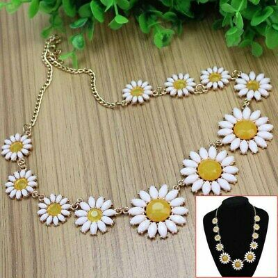 Vintage Daisy Flower Bib Chain Statement Women Girls Choker Necklace Jewelry