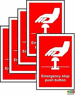 Emergency Stop Push button Sign - Self adhesive sticker 70mm x 50mm PACK of 5