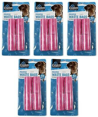 5 Packs Pink Dog Waste 300 Bags Pet Pooper Scooper Puppy Cat Poo Poop un Scented